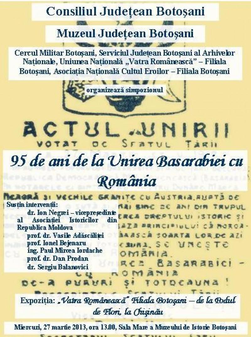 Muzeul Județean marchează 95 de ani de la Unirea Basarabiei cu România