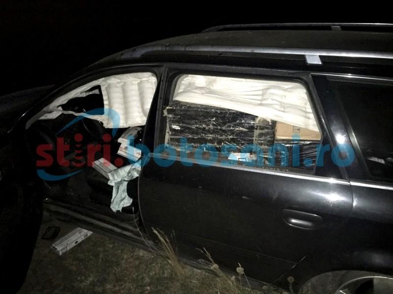 Noapte cu aventuri la Ştiubieni! Audi plin cu ţigări interceptat de poliţişti, șoferul a fugit după o urmărire pe un drum județean! FOTO