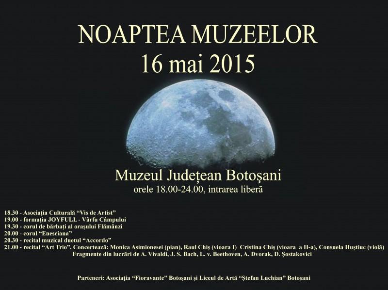 Noaptea muzeelor la Botoşani, ediţia 2015