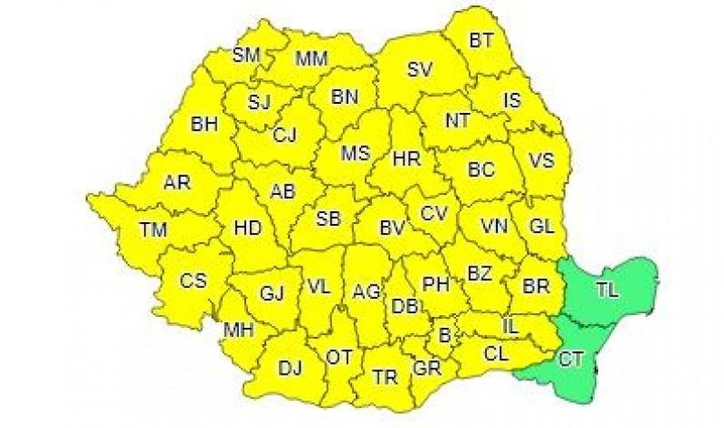 Noi atenționări Cod Galben de vreme rea în județul Botoșani!