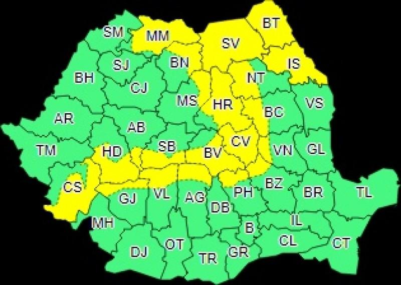 O nouă avertizare Cod Galben pentru județul Botoșani!