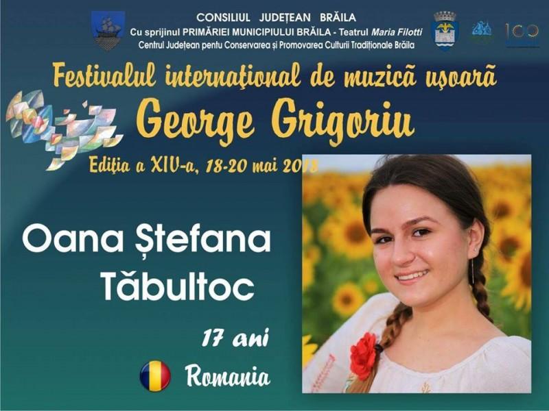 """Oana Tăbultoc obține un prestigios premiu la Festivalului concurs internațional de muzică uşoară """"George Grigoriu""""! FOTO"""