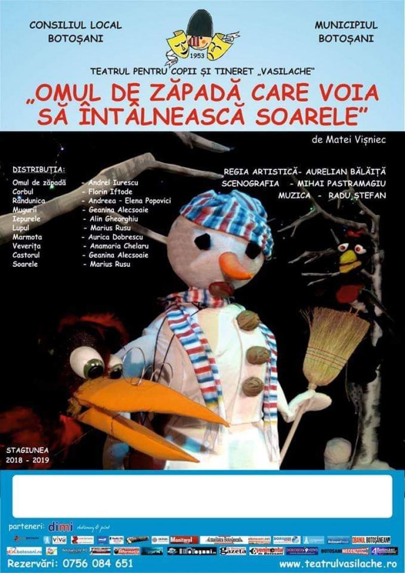 """""""Omul de zăpadă care voia să se întâlnească cu soarele"""", duminică, la Teatrul pentru Copii"""