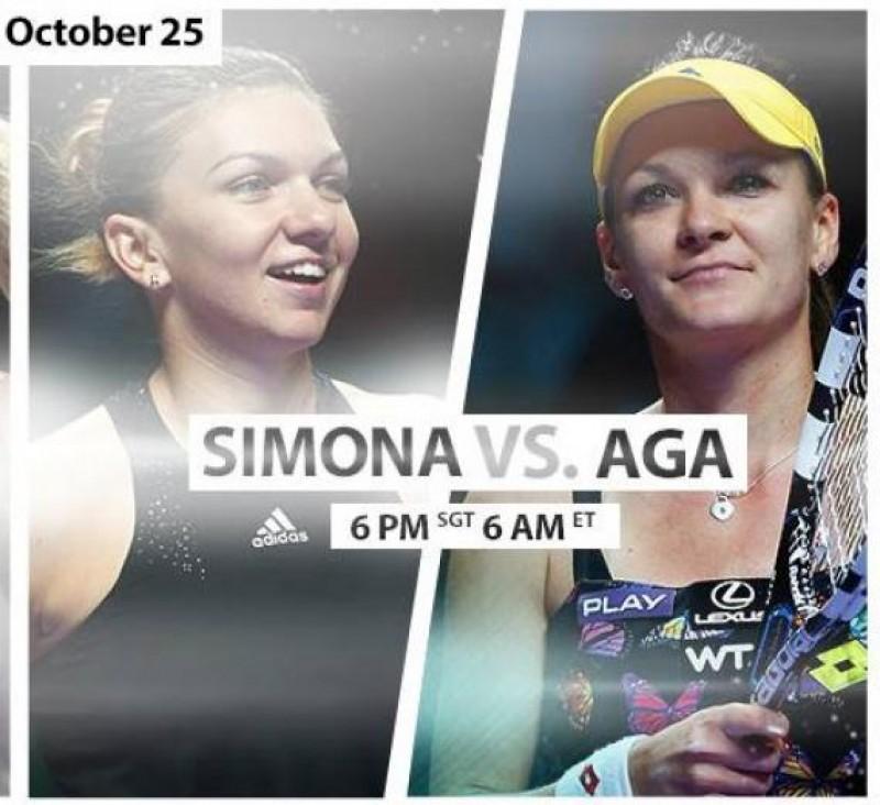 Ora 13.00: SIMONA HALEP, în semifinale la Singapore, contra polonezei AGNIESZKA RADWANSKA