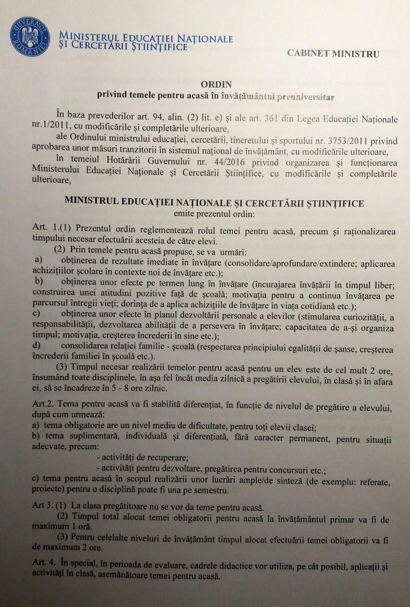 DOCUMENT Ordin al ministrului Educatiei prin care se limiteaza temele pentru acasa: Fara teme in vacante. Se interzice utilizarea temei ca instrument de pedeapsa!