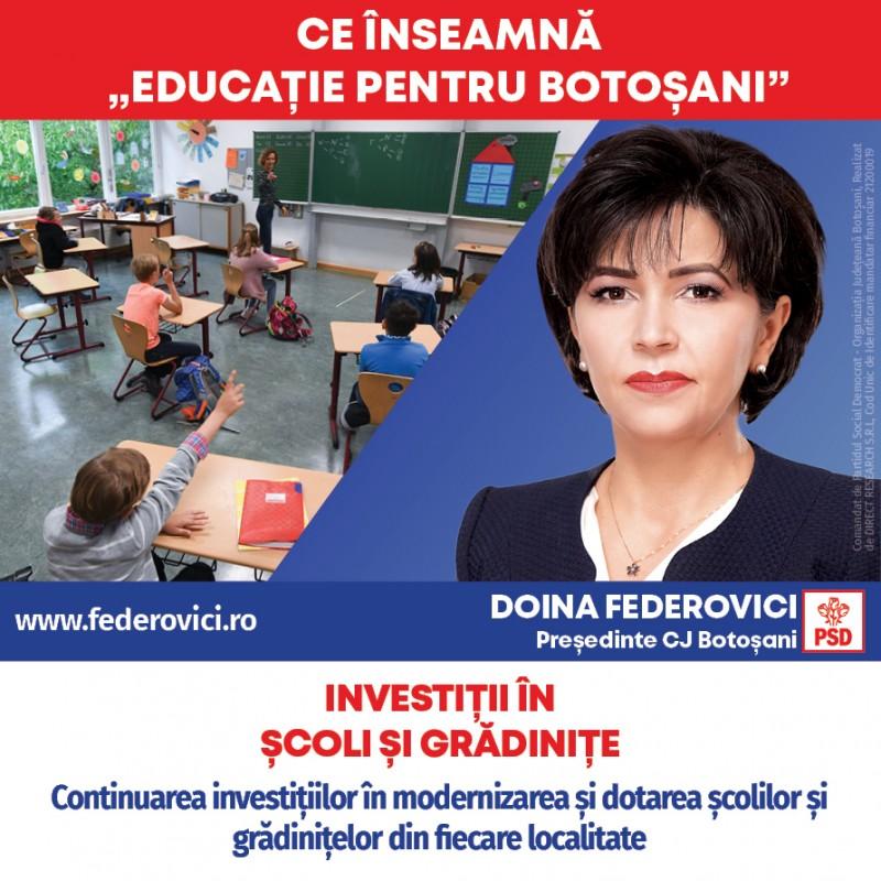 (P) Doina Federovici: Continuăm investițiile în educație! Ne-am ținut de cuvânt: 164 de școli și grădinițe în 55 de localități, construcții noi și reabilitate în Guvernarea PSD!