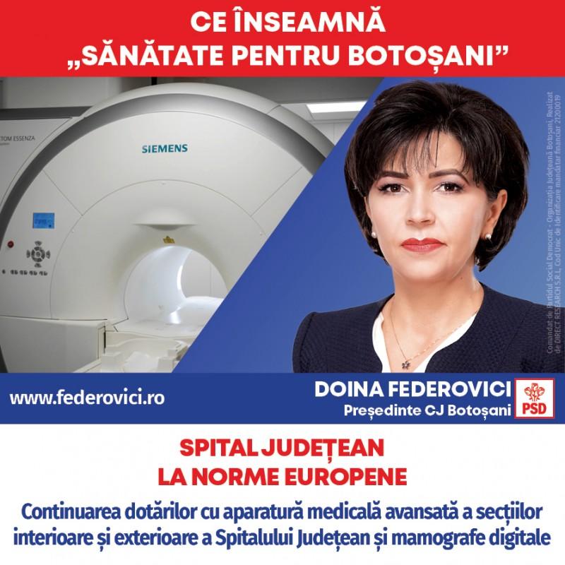 """(P) Doina Federovici: """"La Consiliul Județean, voi continua investițiile în sănătate din guvernarea PSD: aparatură nouă la Spitalul Județean, modernizarea secțiilor, dispensare medicale și ambulanțe noi"""""""