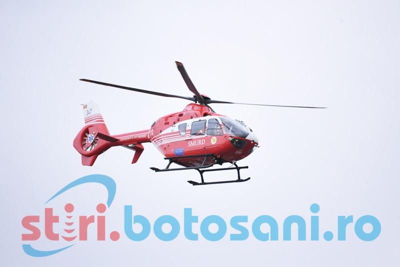 Pacient în stare gravă, preluat de elicopterul SMURD de la Dorohoi!