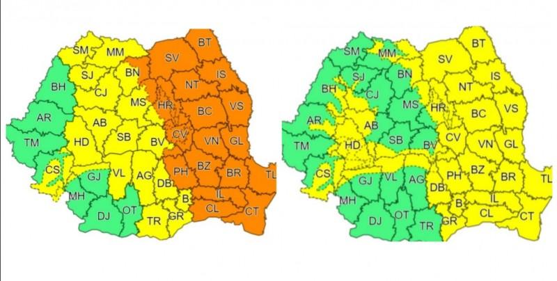 Până marți, județul Botoșani se află sub două coduri de instabilitate atmosferică accentuată
