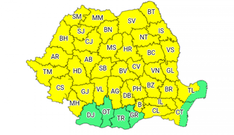 Până miercuri noapte, județul Botoșani este sub avertizare COD GALBEN de vreme rea!