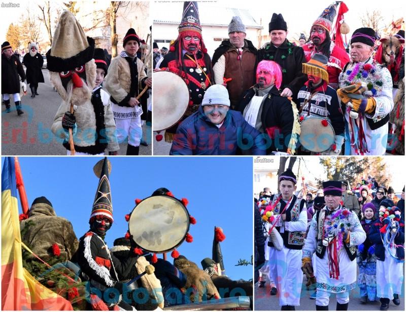 Parada datinilor si obiceiurilor de iarna! Un om de afaceri din judet a primit uratorii in suman moldovenesc si caciula de miel! FOTO, VIDEO