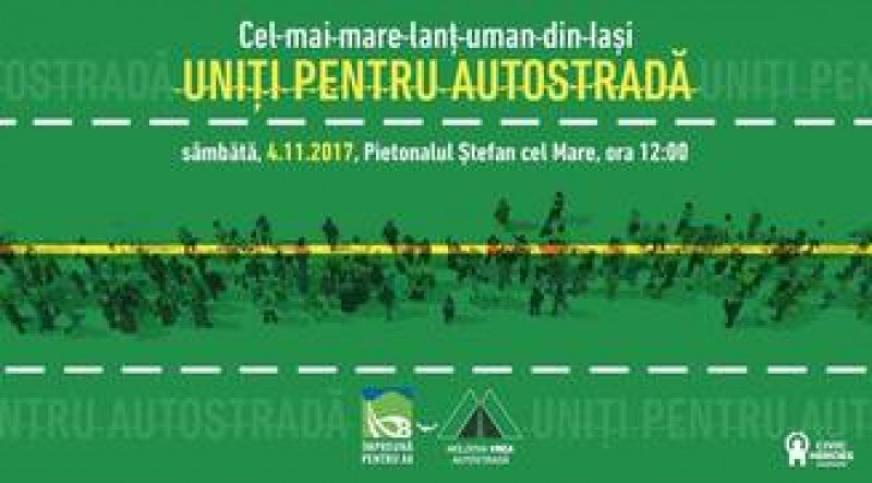 Peste 2.000 de persoane au format un lant uman la Iasi. Ei cer autostrada care sa lege Moldova de vestul tarii
