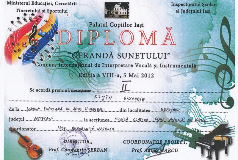 Pianisti ai Scolii Populare de Arta Botosani, premiati la Iasi!