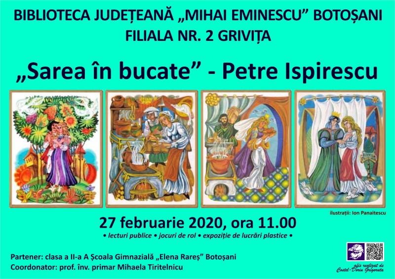 """Povestea """"Sarea în bucate"""", pusă în scenă la Biblioteca Județeană Botoșani"""