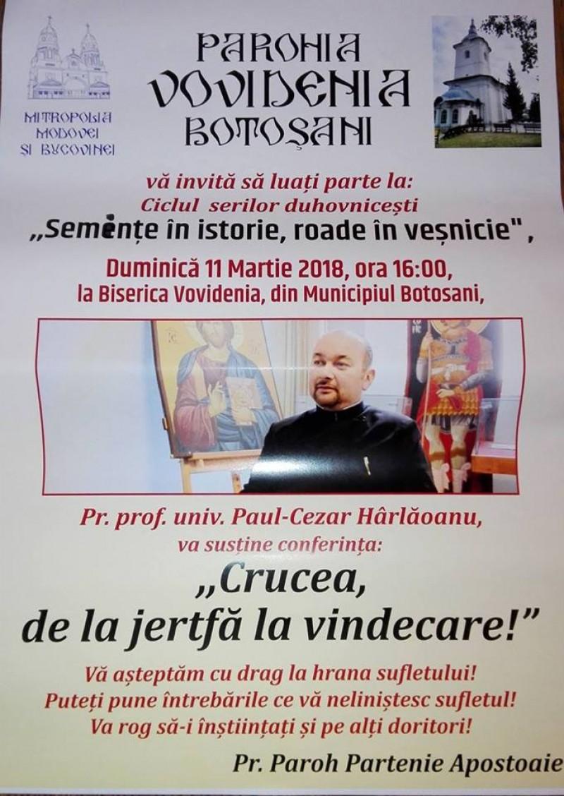"""Pr. Paul-Cezar Hârlăoanu susține, la Biserica Vovidenia, conferința """"Crucea, de la jertfă la vindecare"""""""
