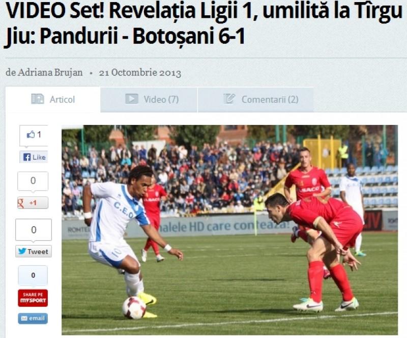 "Presa nationala despre meciul Pandurii - FC Botosani: ""Revelatia Ligii 1, umilita in ritm de SAMBA"""