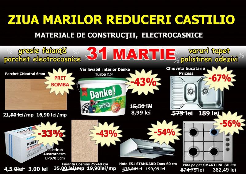 Preţuri cu până la 70% mai mici la Castilio doar vineri, 31 martie, la Ziua Marilor Reduceri. Vezi ofertele!