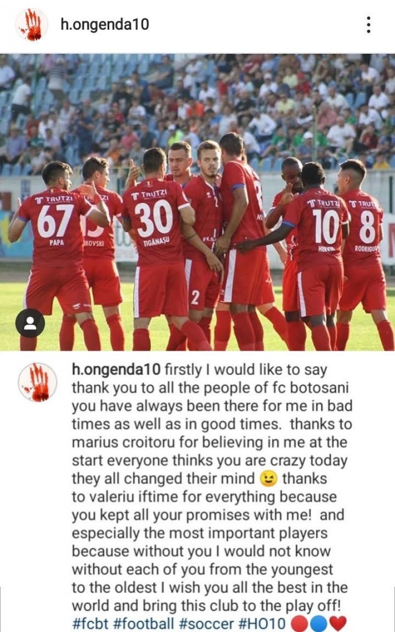 """Prima reacție a lui Hervin Ongenda după despărțirea de FC Botoșani! """"Toata lumea credea că sunt nebun"""""""
