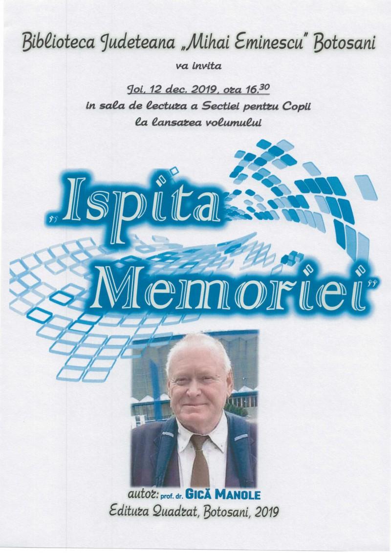 Profesorul Gică Manole își lansează memoriile la Biblioteca Județeană Botoșani