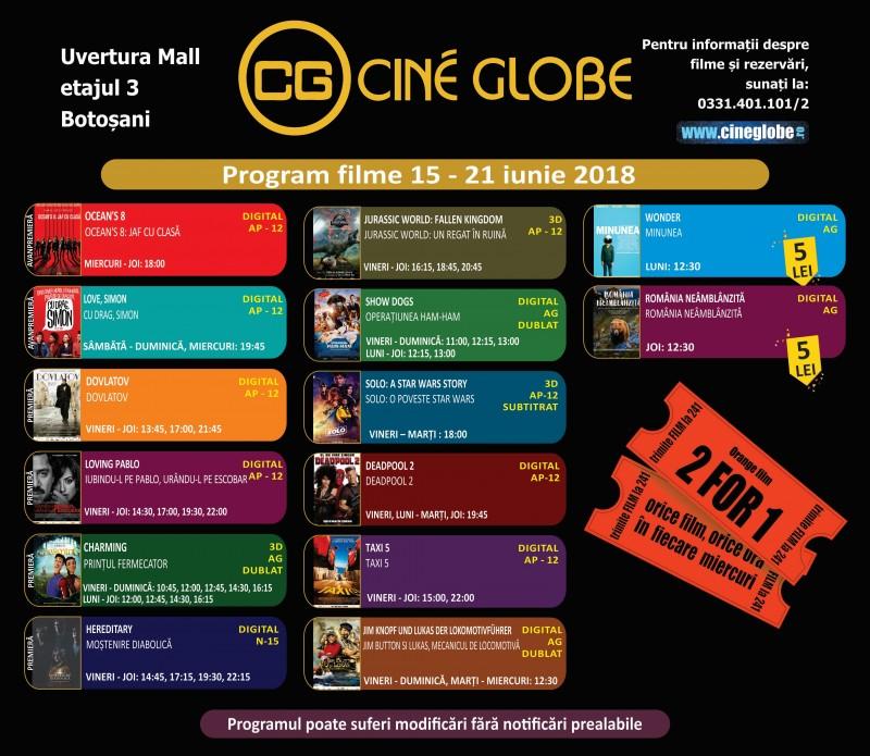 Program Cine Globe Botoșani, în săptămâna 15 - 21 iunie!