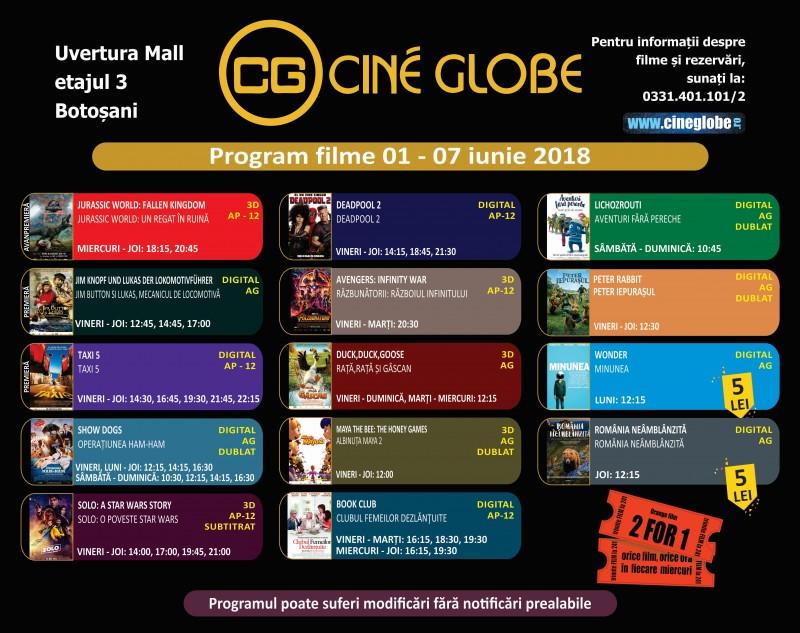 Program Cine Globe Botosani pentru săptămâna 1 - 7 iunie!