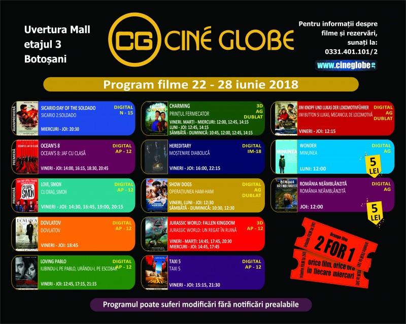 Program Cine Globe Botoșani pentru săptămâna 22 - 28 iunie!