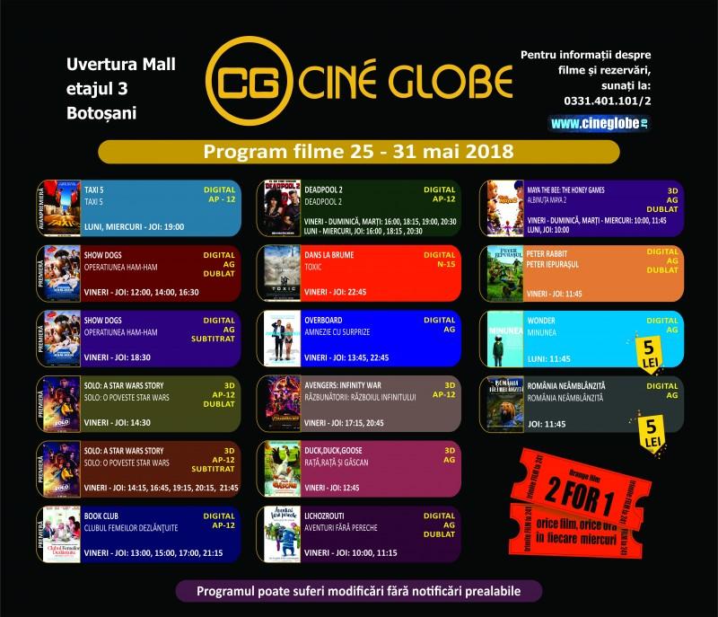 Program Cine Globe Botosani pentru săptămâna 25 - 31 mai!