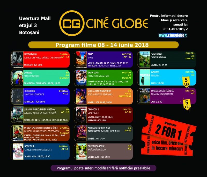 """Program Cine Globe Botosani pentru săptămâna 8 - 14 iunie, cu """"Jurassic World: Un regat in ruina""""!"""