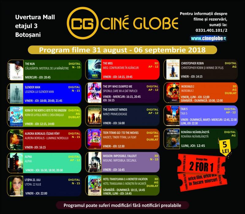 Program Cine Globe în săptămâna 31 august - 6 septembrie