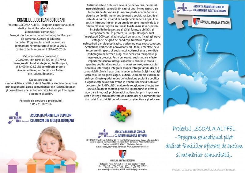 Program educațional pilot dedicat familiilor afectate de autism și membrilor comunității