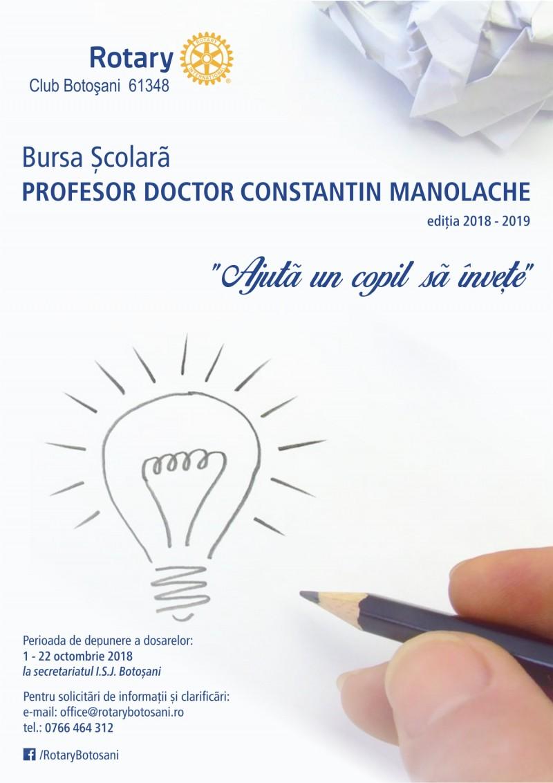 """Programul bursier """"Prof. dr. Constantin Manolache"""", susținut de Rotary Club Botoșani, se extinde la nivelul întregului județ - VEZI Regulamentul"""