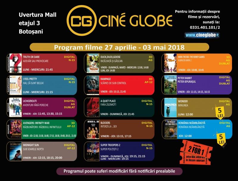 Programul Cine Globe Botoșani, pentru perioada 27 aprilie - 3 mai!