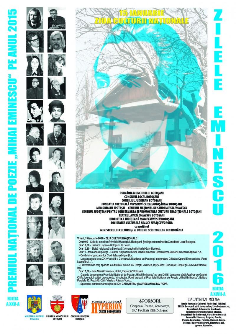 Programul Zilelor Eminescu, Botoşani, 13-15 ianuarie 2016