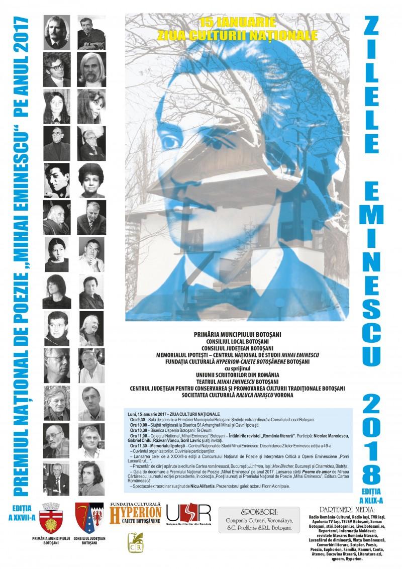 """Programul Zilelor Eminescu - Premiul Național de Poezie """"Mihai Eminescu"""", 2018"""