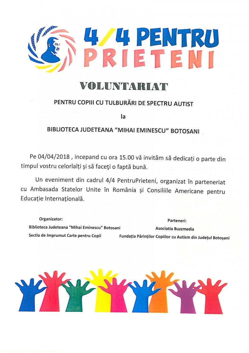 """Proiectul """"4/4PentruPrieteni"""" ajunge la Biblioteca Județeană Botoșani"""