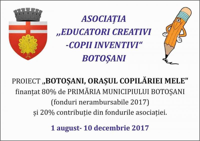 """Proiectul """"Botoșani, orașul copilăriei mele"""" adună, sâmbătă, 150 de copii și zeci de cadre didactice!"""