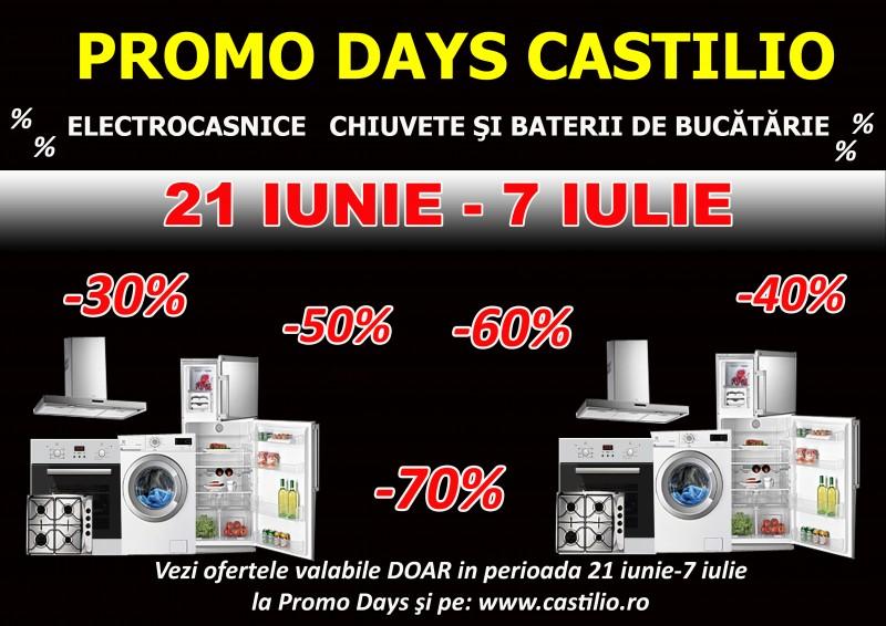 Promo Days la Castilio cu reduceri de până la 70% la electrocasnice, chiuvete şi baterii. Descoperă promoţiile!