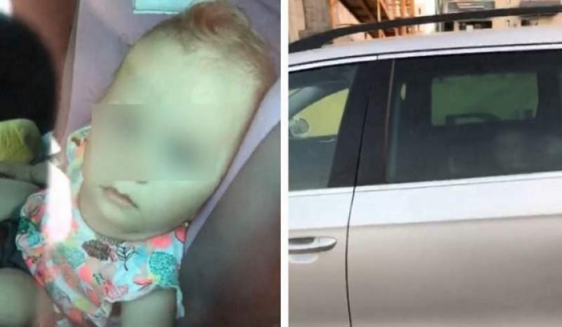 Protecția Copilului a declanșat o anchetă după imaginile cu o fetiță de un an ce ar fi fost lăsată într-o mașină parcată la soare!