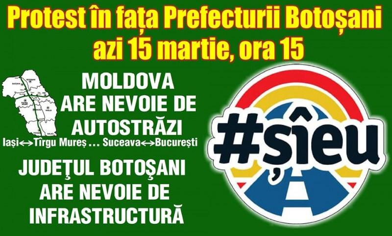 Protest din fața Prefecturii Botoșani astăzi, la ora 15.00. VEZI recomandările jandarmilor