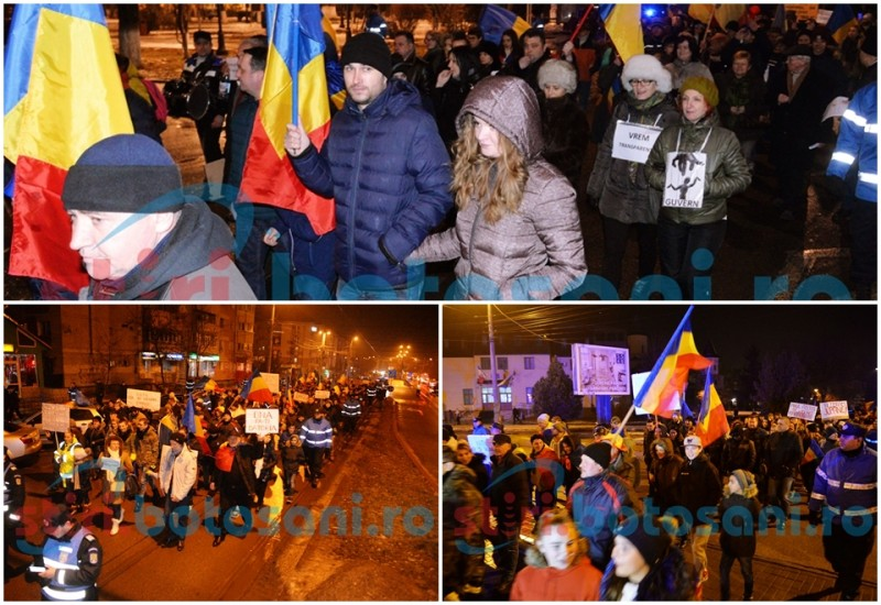Protestatarii botoşăneni nu se lasă: O nouă seară în stradă! Apel la un protest paşnic, după un incident în timpul marşului! FOTO, VIDEO