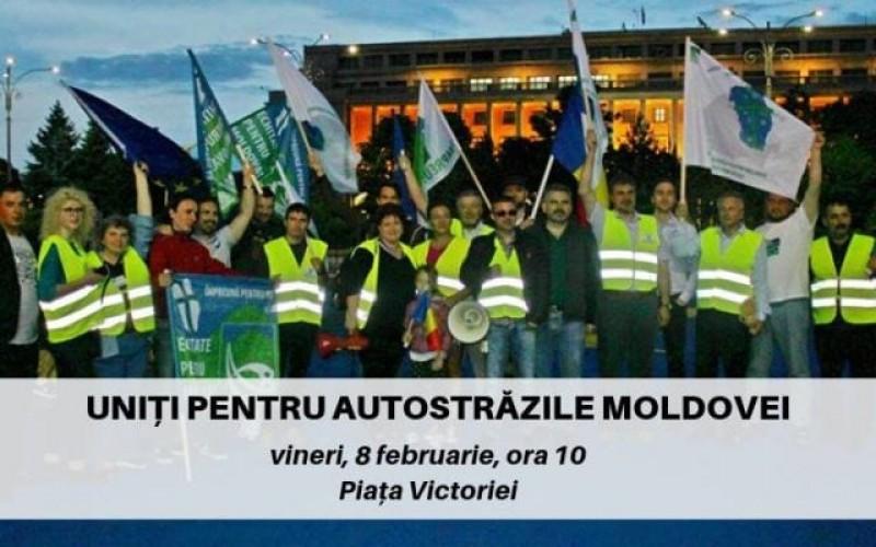 Protestul asociațiilor care cer autostradă. Revendicările cetățenilor din regiunea Moldova!