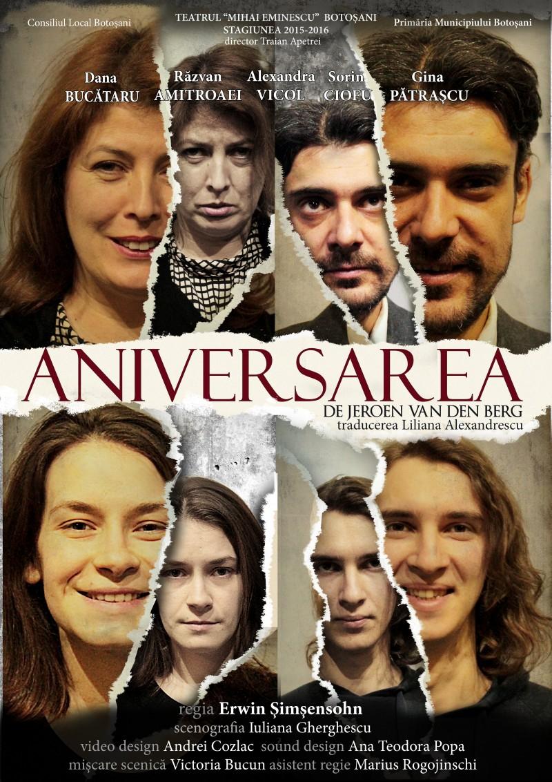"""Publicul botoşănean, aşteptat la spectacolul """"Aniversarea"""", la Teatrul Eminescu!"""