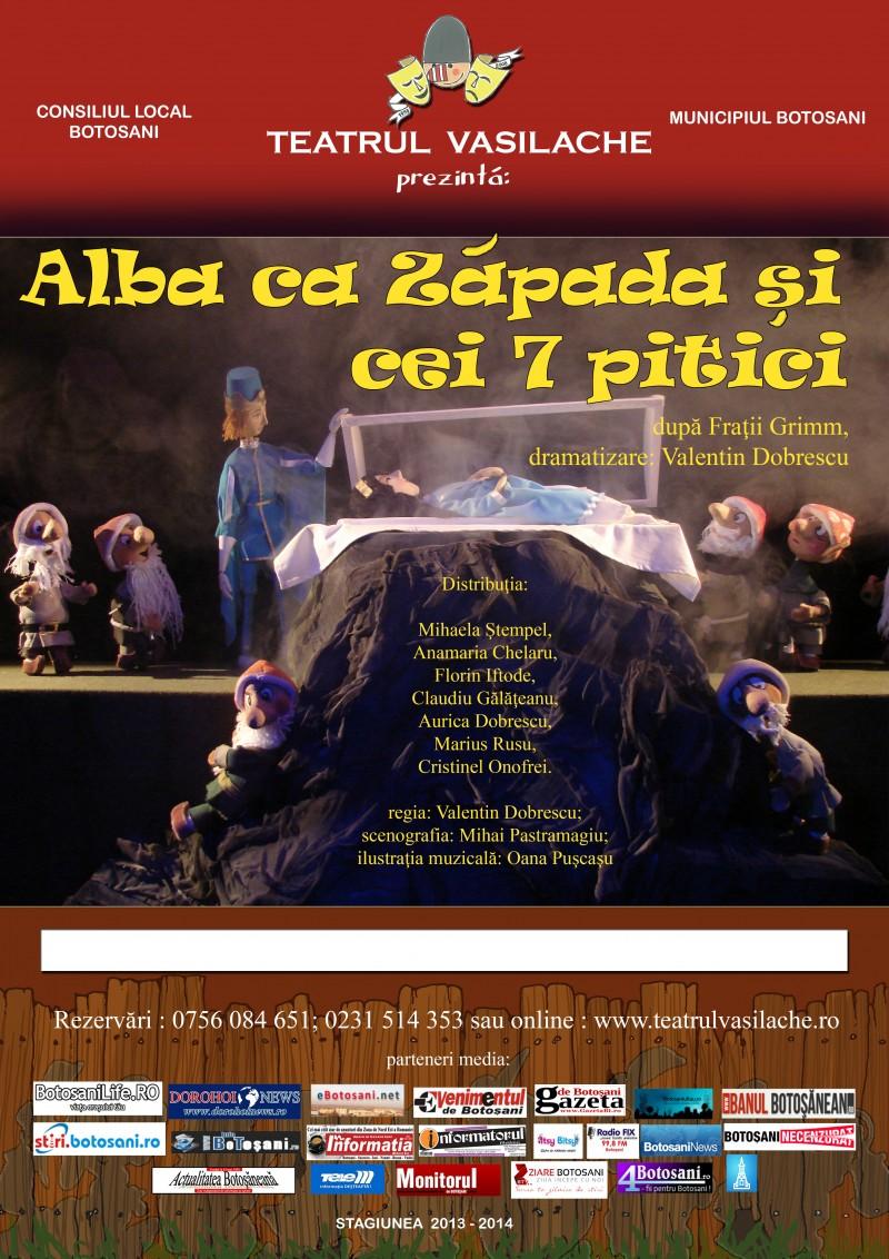 """""""Albă ca Zăpada şi cei 7 pitici"""", la Teatrul Vasilache"""