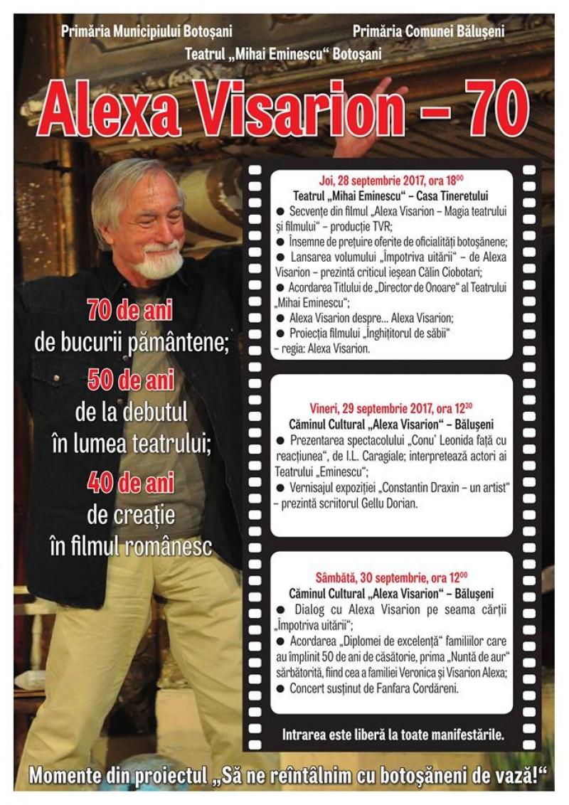 """Alexa Visarion - 70 "", la Teatrul Mihai Eminescu Botoșani"