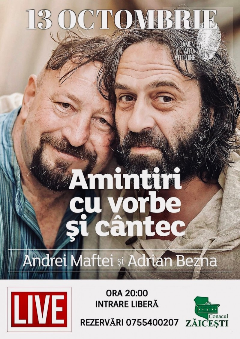 """""""Amintiri cu vorbe şi cântec"""" la Conacul Zăiceşti - Adrian Bezna & Andrei Maftei – Recital folk şi dublă lansare de carte"""