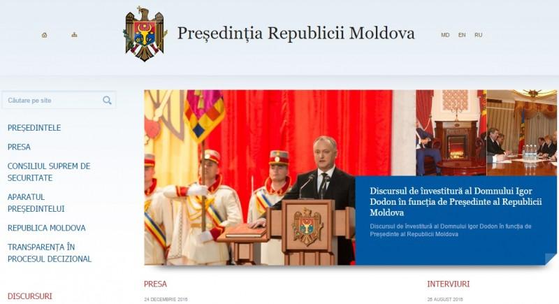 """""""Cadoul"""" lui Dodon de Craciun: A inlocuit limba romana cu limba moldoveana pe site-ul presedintiei Republicii Moldova"""