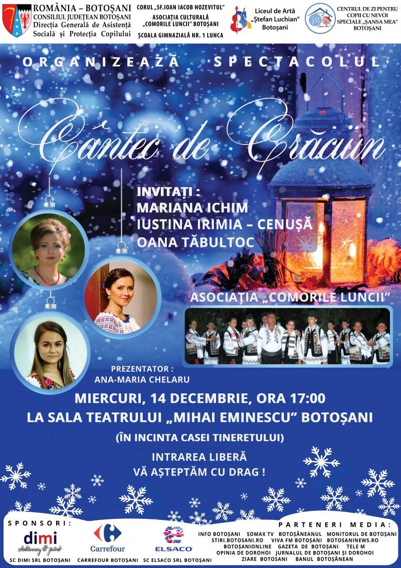 """""""Cântec de Crăciun"""", în interpretarea copiilor și tinerilor cu și fără dizabilități din județul Botoșani"""