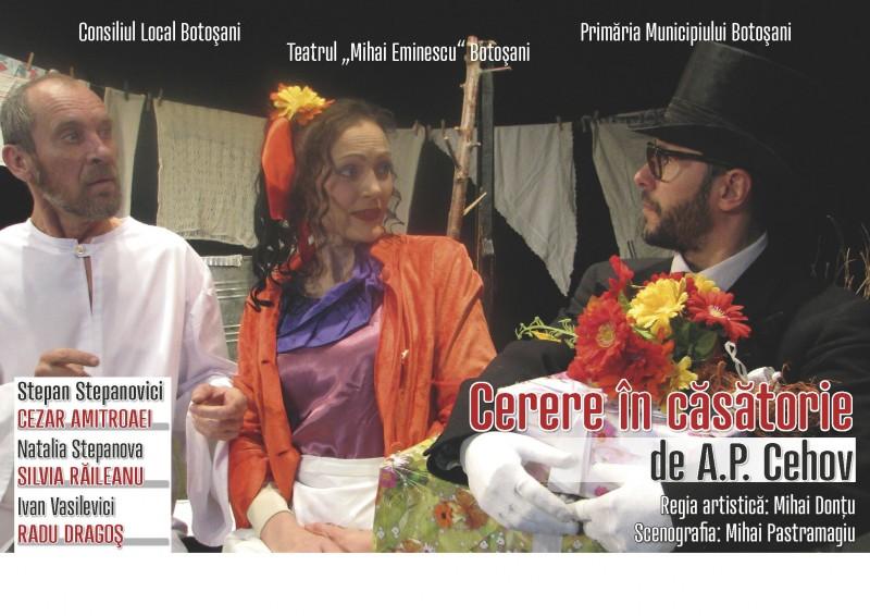 """""""Cerere în căsătorie"""", de A. P. Cehov, pe scena Teatrului Mihai Eminescu!"""