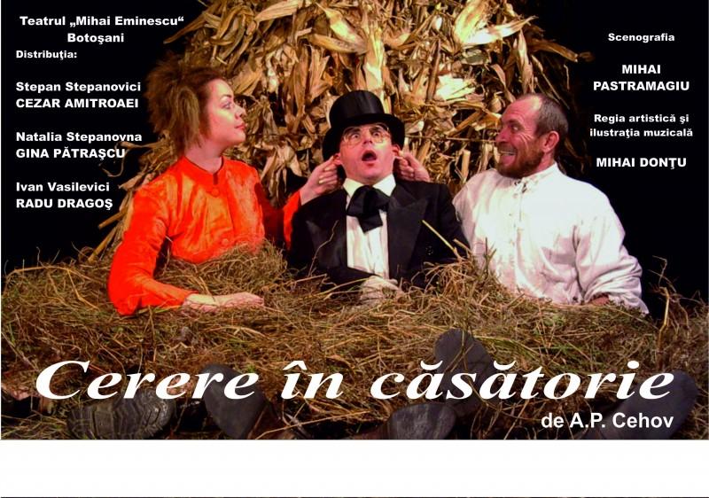 """Cerere in casatorie"", duminica, la Teatrul Eminescu!"
