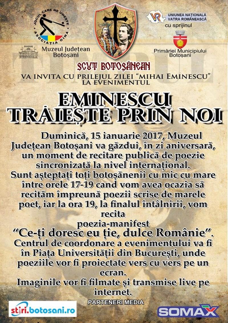 """""""Eminescu trăieşte prin noi"""", duminică la Muzeul Judeţean!"""